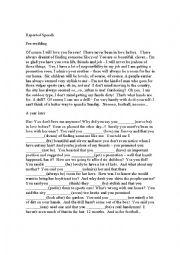 English Worksheet: Pre-wedding Promises (reported speech)