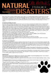 English Worksheet: Can animals predict natural disasters? (reading test,4 pages with answer key)