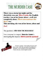 English Worksheet: Murder Mystery