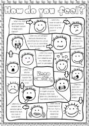 English Worksheet: How do you feel? - board game (KEY included)