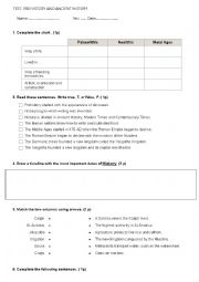 English Worksheet: Prehistory and Ancient History. Test