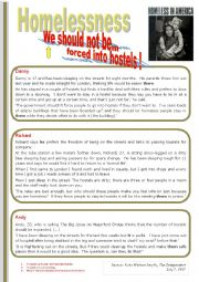 English Worksheet: HOMELESSNESS �We should not be forced into hostels !