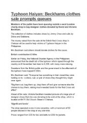 English Worksheet: Beckhams donate 20 boxes of clothes to charity to aid typhoon victims