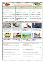 English Worksheet: present progressive