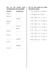 English Worksheet: nationalities,countries and capital cities