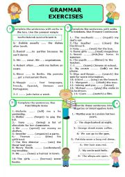 English Worksheet: GRAMMAR EXERCISES