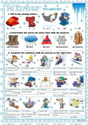 Winter vocabulary exercises