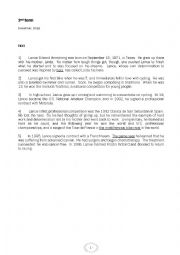 English Worksheet: End of term test n=�1 for 2nd form december 2013