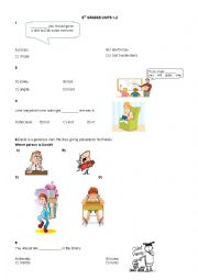 English Worksheet: Turkish State Schools Forward English 8th Grades SBS Test Units 1-2 ( Part 1 )