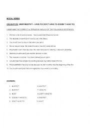 English Worksheet: modal verbs obligation