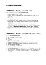 english reading report assignment An esol reading comprehension based on a bbc news report on the death of  worksheet or assignment, writing prompts  functional skills english, reading: text.
