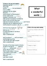 English Worksheet: What a wonderful world+Somewhere over the rainbow