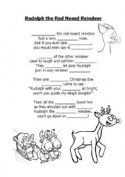 English Worksheet: Rudolph the red nosed reindeer