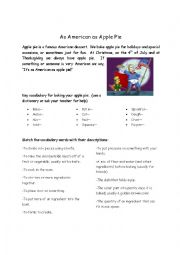 English Worksheet: All American Apple Pie