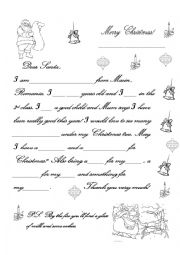 English Worksheet: a letter to santa