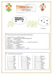 English Worksheet: Indefinite Article- a&an
