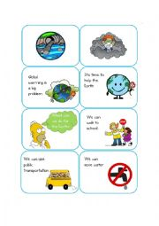 English Worksheet: What can we do for the Earth? (as a child) card game