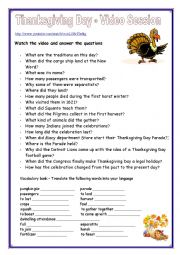 English Worksheet: Thanksgiving Day - Video Session