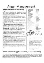 English Worksheet: Anger Management