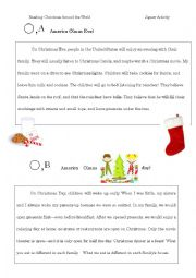 English Worksheet: Christmas Around the World JIGSAW reading activity