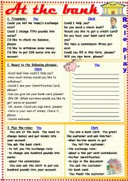 English Worksheet: At the bank (a role-play)