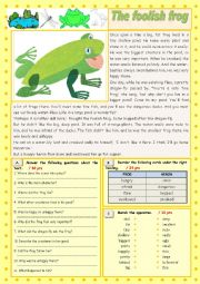 English Worksheet: The foolish frog (Reading Comprehension)