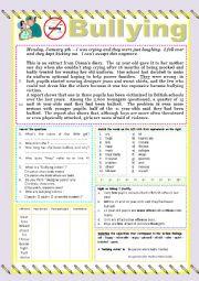 English worksheet: Bullying READING or TEST