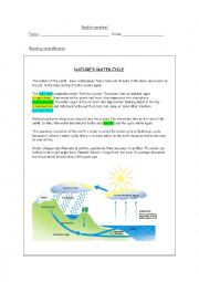 English Worksheet: nature´s water cycle