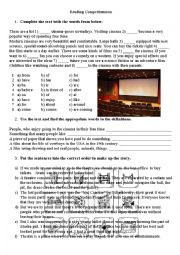 English Worksheet: Cinems and Theatre Goers