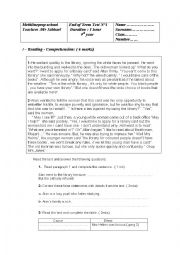 English Worksheet: end term test 9th grade
