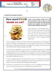 English Worksheet: How much food should we eat?  -  Reading & Writing test - Intermediate B1