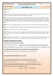 English Worksheet: 8th form Full term test N�1