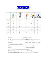 English Worksheet: Like -ing