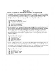English Worksheet: Main Idea Worksheet