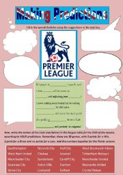 English Worksheet: Making predictions with the English Premier League