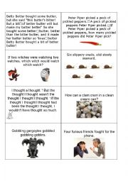 English Worksheet: Tongue Twister Cards part 1