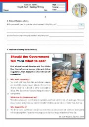 English Worksheet: Should the Government tell you what to eat? - Reading & Writing Test Pre-Intermediate B1