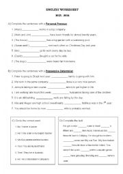 Personal Pronouns and Possessive Determiners