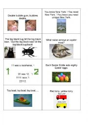 English Worksheet: Tongue Twister Cards part 2