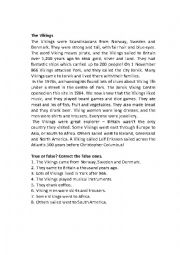 English Worksheet: The Vikings Reading Comprehension