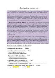 English worksheet: Comprehension test on Facebook