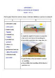 English Worksheet: Sources of energy