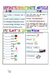 English Worksheet: ddefinite-indefinite article