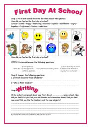 English Worksheet: 9th form module 2 lesson 3 First Day At School Listening