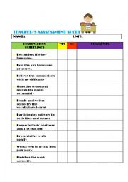 English Worksheet: Teacher`s assessment sheet