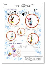 English Worksheet: DISNEY CLOCKS - WHAT�S THE TIME?