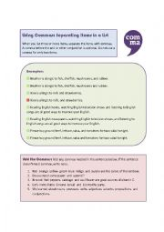 English worksheet: Using Commas: Separating Items in a List