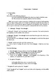 English Worksheet: Concession and contrast Theory