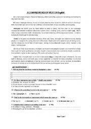 English worksheet: Comprehension Test on Youth