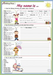 English Worksheet: Writing Time Series - My name is... (To Be) - Children